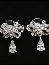 cheap -Geometric Stud Earrings / Hoop Earrings - Bowknot Classic, European, Korean Silver For Wedding / Daily
