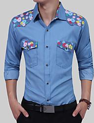 Недорогие -Муж. С принтом Рубашка Классический Цветочный принт Волк