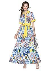 baratos -Mulheres Básico Moda de Rua balanço Vestido Floral Longo