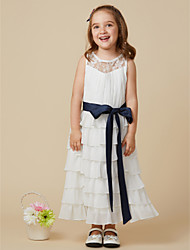cheap -A-Line Knee Length Flower Girl Dress - Chiffon Sleeveless Jewel Neck with Bow(s) Lace Sash / Ribbon Pleats by LAN TING BRIDE®