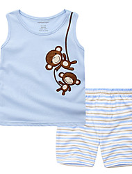 cheap -Boys' Daily Holiday Striped Print Clothing Set, Cotton Summer Sleeveless Active Light Blue