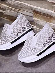 abordables -Femme Chaussures Tulle Printemps Confort Mocassins et Chaussons+D6148 Creepers Bout fermé Blanc / Noir