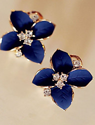 cheap -Women's Cubic Zirconia Stud Earrings - Flower Classic, Fashion Royal Blue For Party / Daily