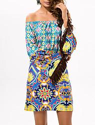 cheap -Women's Holiday Boho Cotton Swing Dress - Geometric / Color Block Print High Waist Off Shoulder / Boat Neck