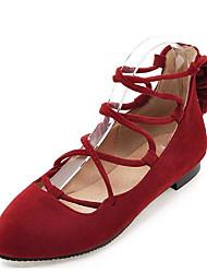 povoljno -Žene Cipele Nubuk koža Proljeće Jesen Balerinke Udobne cipele Ravne cipele Ravna potpetica za Kauzalni Crn Braon Crveni Drak