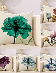 abordables -6 pcs Coton/Lin Taie d'oreiller Nouveaux Oreillers Housse de coussin, Fleur simple A Fleur Style artistique Abstrait