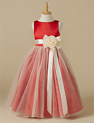cheap -A-Line Tea Length Flower Girl Dress - Satin Tulle Sleeveless Jewel Neck with Sash / Ribbon Flower by LAN TING BRIDE®