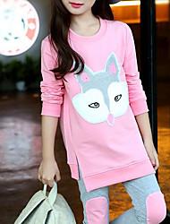 Недорогие -Девочки Набор одежды Хлопок Мультипликация Осень Оранжевый Розовый