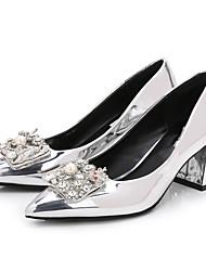 preiswerte -Damen Schuhe PU Frühling Herbst Pumps High Heels Blockabsatz Spitze Zehe Strass Imitationsperle für Normal Silber
