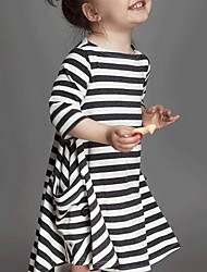 cheap -Girl's Daily Striped Dress, Rayon Spring Fall Long Sleeves Street chic White