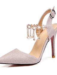 baratos -Mulheres Sapatos Glitter Verão Outono Tira no Tornozelo Conforto Sandálias Salto Agulha Dedo Apontado Pérolas Sintéticas Presilha para