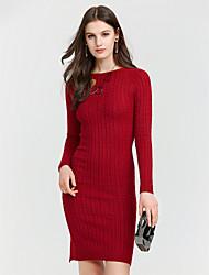 baratos -Mulheres Delgado Tricô Vestido - Estampado, Sólido Médio Vermelho / Primavera / Outono