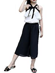 Недорогие -Девочки Наборы Хлопок Шифон Мода Однотонные Бант Лето Без рукавов Набор одежды