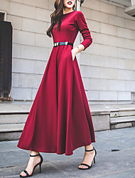 cheap -Women's Going out Street chic Swing Dress - Solid Colored High Waist Maxi