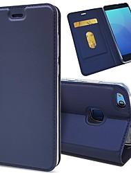 billige -Etui Til Huawei P20 / P20 lite Pung / Kortholder / Flip Fuldt etui Ensfarvet Hårdt PU Læder for Huawei P20 / Huawei P20 lite / P10 Plus