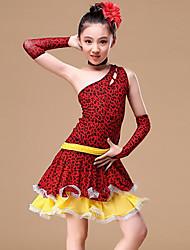 baratos -Dança Latina Roupa Para Meninas Treino / Espetáculo Poliéster Estampa / Caixilhos / Fitas / Combinação Sem Manga Natural Vestido / Luvas / Neckwear