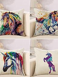 baratos -4.0 pçs Algodão/Linho Fronha Almofada Inovadora Cobertura de Almofada, Pintura à Óleo Vida Selvagem Animal Inspirado da Natureza Boho