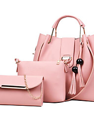 baratos -Mulheres Bolsas PU Conjuntos de saco 3 Pcs Purse Set Mocassim Preto / Rosa / Cinzento