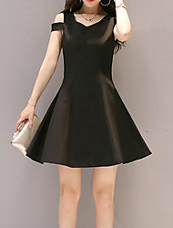 cheap -Women's Holiday Slim A Line Little Black Dress - Solid Colored V Neck