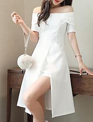 abordables -Femme Coton Mince Gaine Robe Couleur Pleine Taille haute Bateau Mi-long