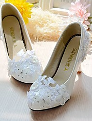 cheap -Women's Shoes Lace / Leatherette Spring / Fall Slingback Wedding Shoes Stiletto Heel Round Toe Rhinestone / Imitation Pearl / Sparkling
