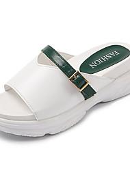 Недорогие -Жен. Обувь Полиуретан Весна / Лето Удобная обувь Сандалии На плоской подошве Круглый носок Красный / Зеленый