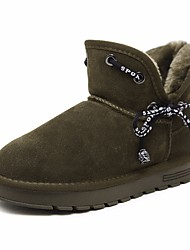 Недорогие -Жен. Обувь Мех Зима Удобная обувь / Зимние сапоги Ботинки На низком каблуке Ботинки Черный / Военно-зеленный
