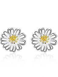 abordables -Femme Fleur Zircon S925 argent sterling Boucles d'oreille goujon - Mode Argent Des boucles d'oreilles Pour Cadeau / Quotidien