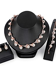 cheap -Jewelry Set - Drop Elegant Include Chain Bracelet / Stud Earrings / Chain Necklace Gold For Wedding / Evening Party