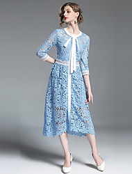 cheap -SHIHUATANG Women's Vintage Street chic A Line Dress - Solid Colored, Lace