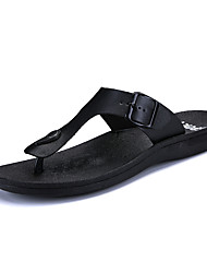 cheap -Men's Shoes PU Summer Comfort Slippers & Flip-Flops Walking Shoes for Casual Black Dark Brown