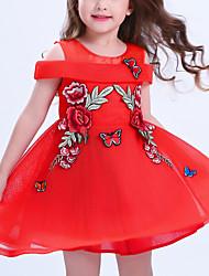preiswerte -Mädchen Kleid Alltag Solide Baumwolle Polyester Frühling Sommer Ärmellos Blumig Rot