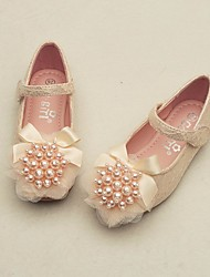 cheap -Girls' Shoes Lace Spring & Summer Comfort / Flower Girl Shoes Flats for White / Pink
