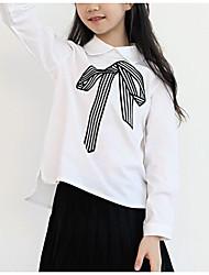 preiswerte -Mädchen Hemd Polyester Frühling Langarm Einfach Weiß Marineblau