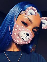 baratos -Cabelo Remy Peruca Cabelo Brasileiro Liso 130% Densidade Com Baby Hair Com nós descorados Não processado Riscas Naturais Azul Curto Longo