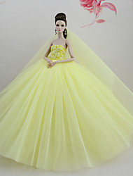 cheap -Dresses Dress For Barbie Doll Yellow Tulle Lace Silk / Cotton Blend Dress For Girl's Doll Toy