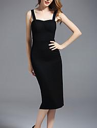 baratos -Mulheres Moda de Rua Bainha Vestido - Frente Única, Sólido Médio