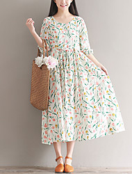 cheap -Women's Loose A Line Skater Dress - Floral