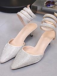 baratos -Mulheres Sapatos Seda Primavera / Outono Conforto Sandálias Salto Agulha Preto / Champanhe