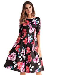 abordables -Femme Mince Patineuse Robe Fleur Mi-long Noir