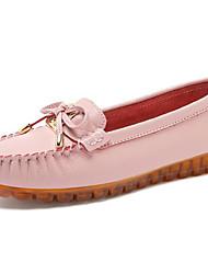 povoljno -Žene Cipele Koža Proljeće Ljeto Udobne cipele Natikače i mokasinke Ravna potpetica Okrugli Toe Mašnica za Kauzalni Obala Pink