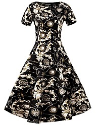 baratos -Mulheres Vintage Moda de Rua balanço Vestido - Patchwork, Xadrez Médio