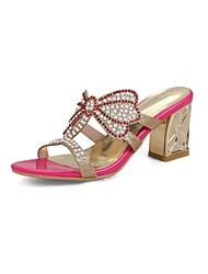 abordables -Mujer Zapatos Purpurina / Materiales Personalizados Verano Confort Sandalias Tacón Cuadrado Punta abierta Fucsia / Almendra