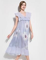 Недорогие -Жен. Глубокий V-образный вырез Шёлк и сатин Пижамы Цветочный принт