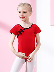 cheap -Ballet Leotards Girls' Training / Performance Cotton Bow(s) Short Sleeve Natural Leotard / Onesie