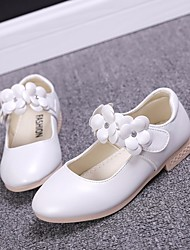 cheap -Girls' Shoes PU Spring / Fall Comfort / Flower Girl Shoes Flats for Gold / White / Pink