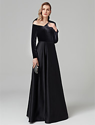 cheap -A-Line One Shoulder Floor Length Satin / Velvet Cocktail Party / Formal Evening / Black Tie Gala Dress with Pleats by TS Couture®