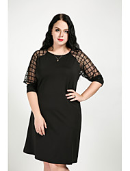 cheap -Cute Ann Women's Plus Size Work Street chic A Line Shift Dress - Solid Colored Mesh