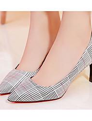 preiswerte -Damen Schuhe PU Frühling / Herbst Komfort / Pumps High Heels Stöckelabsatz Weiß / Silber