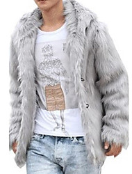 cheap -Men's Elegant & Luxurious Fur Coat-Solid Color